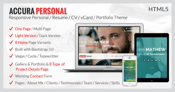 Accura Personal – Resume CV vCard Portfolio Theme