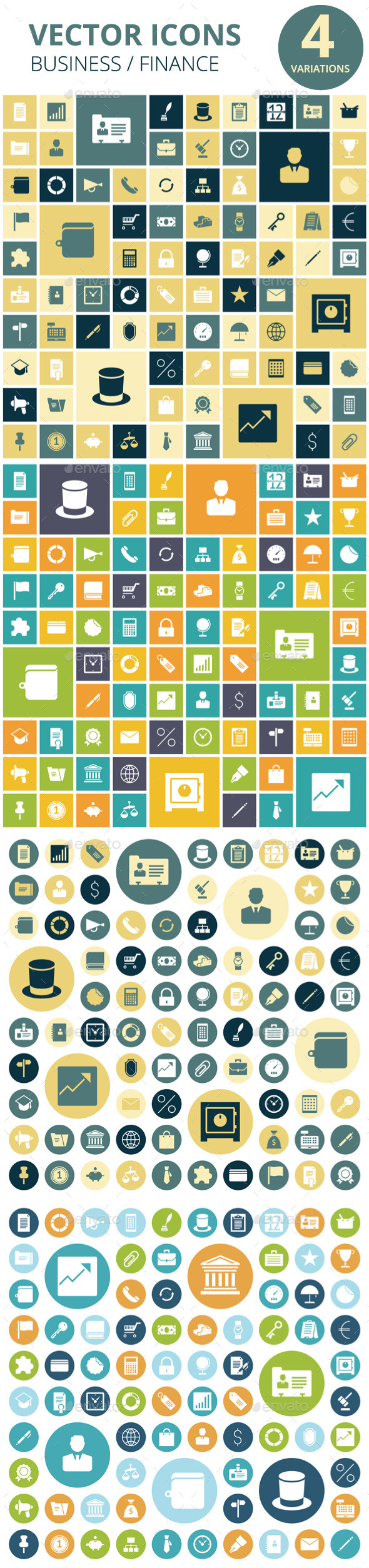 Flat Design Icons for Business - Business Icons