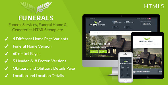 Funeral Service, Funeral Home & Cemeteries HTML5 - Business Corporate