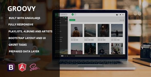 Groovy - AngularJS Music App Template