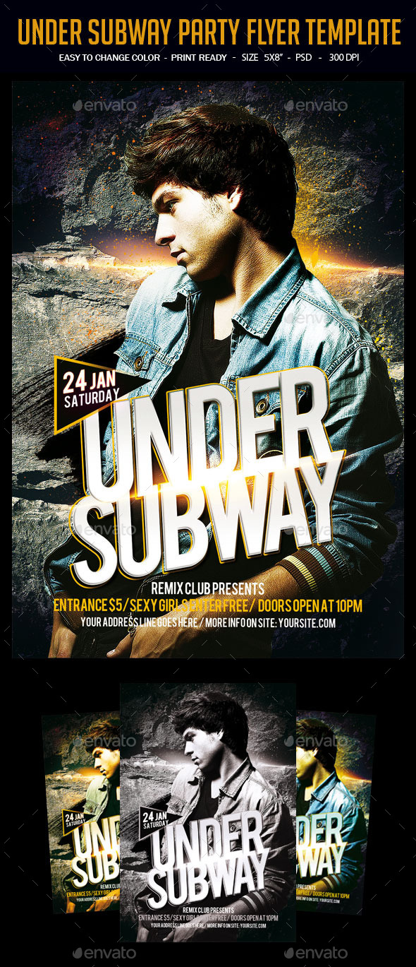 Under Subway Party Flyer Template - Clubs & Parties Events