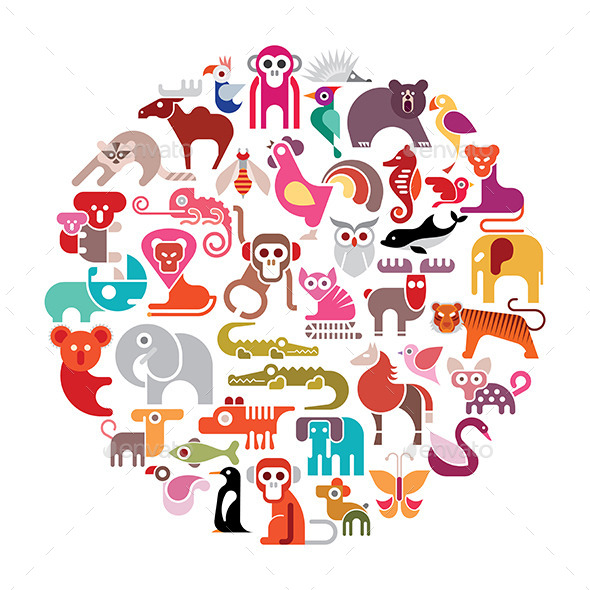 Animal Round Illustration - Animals Characters
