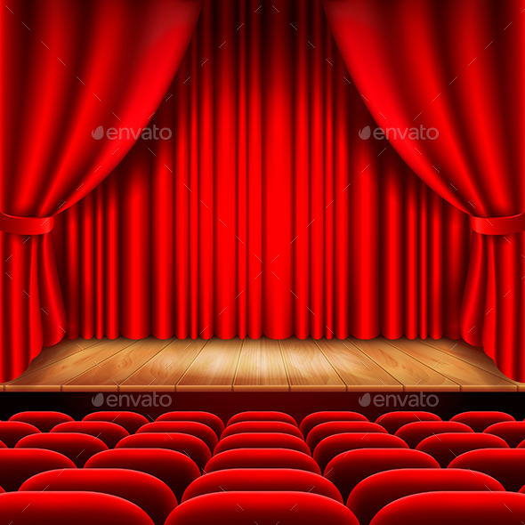 Theater Stage with Red Curtain and Seats - Miscellaneous Vectors