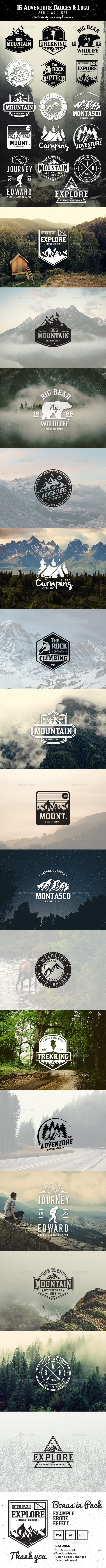16 Adventure Badges & Logo - Badges & Stickers Web Elements