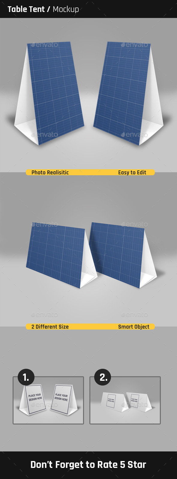 Table Tent MockUp By MIZARD GraphicRiver - Table tent size
