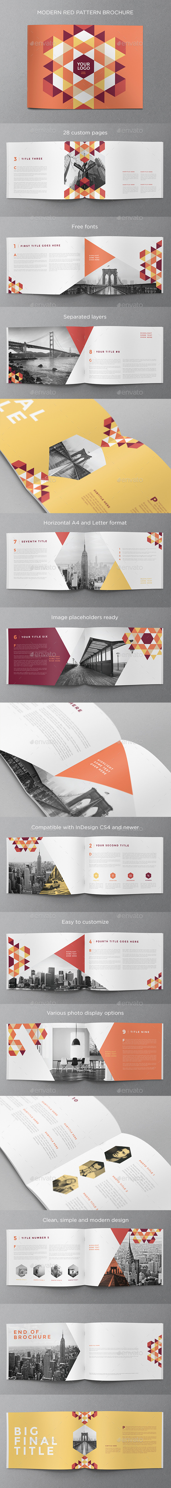 Modern Red Pattern Brochure - Brochures Print Templates