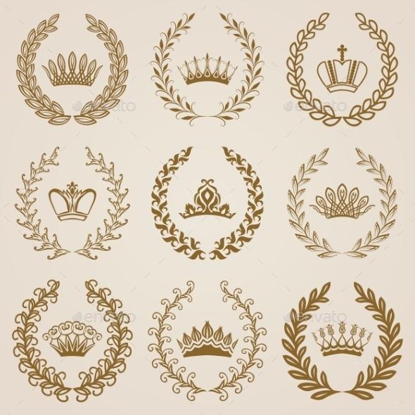 Luxury Gold Labels with Laurel Wreath - Decorative Symbols Decorative
