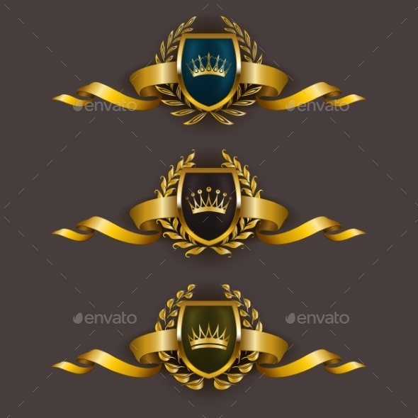 Golden Shields with Laurel Wreath - Decorative Symbols Decorative