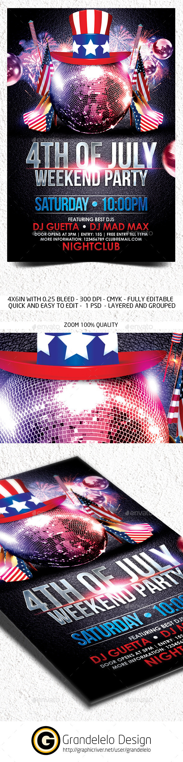 4th July Weekend Flyer Template - Clubs & Parties Events