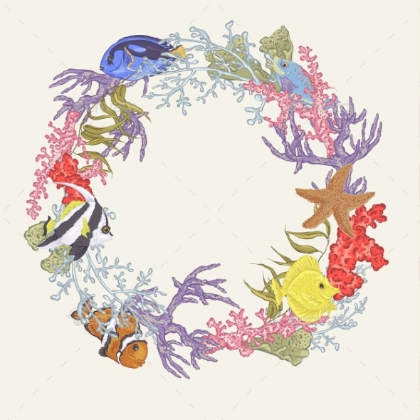 Sea Life Vintage Round Frame With Fish And Seaweed - Borders Decorative