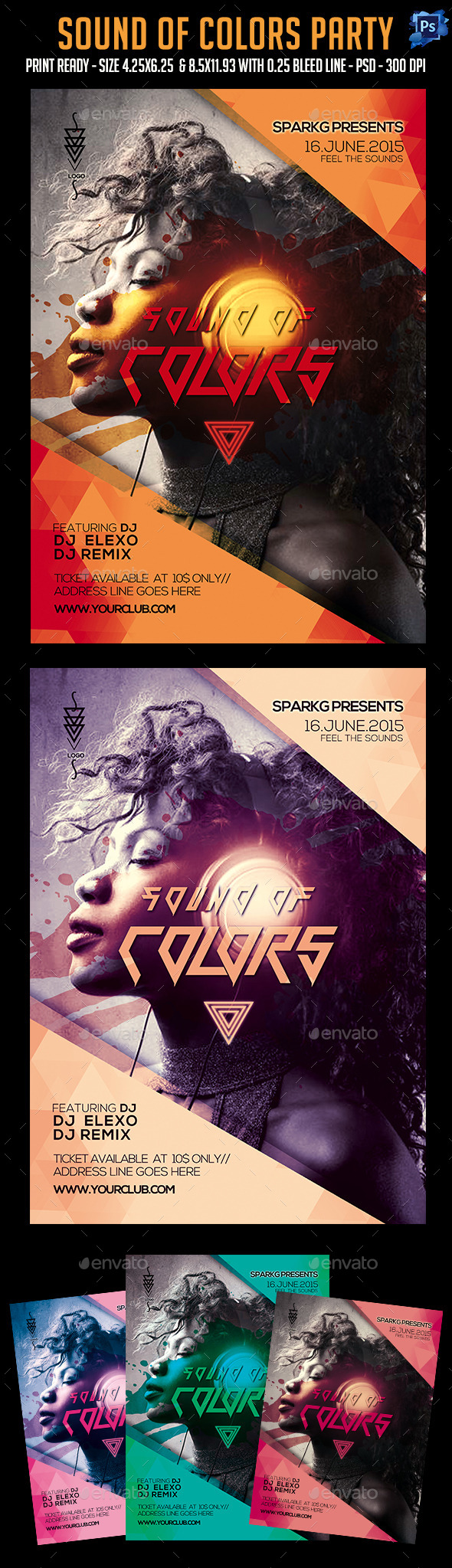 Sound Of Color Party Flyer - Clubs & Parties Events