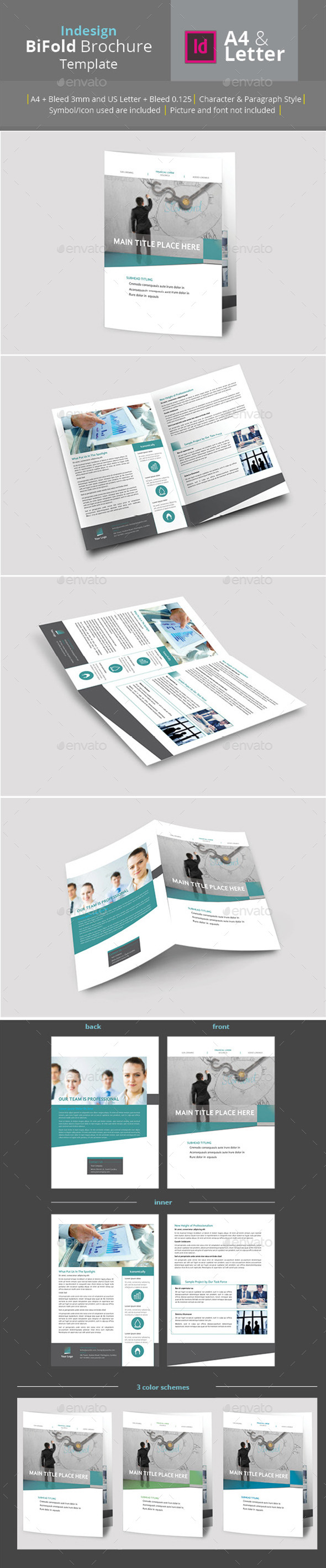 Bifold Brochure A4 & Letter Size - Brochures Print Templates