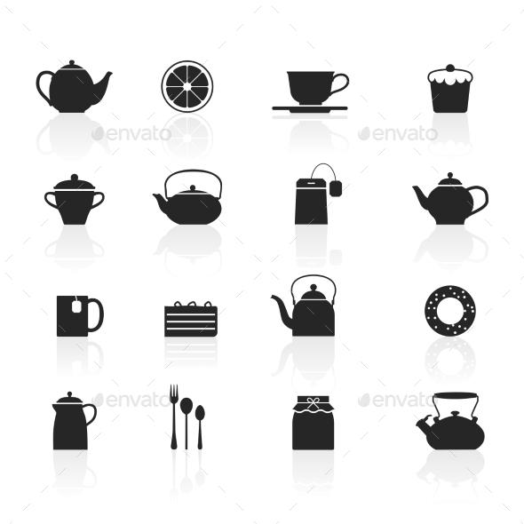 Tea Icons Set - Decorative Symbols Decorative