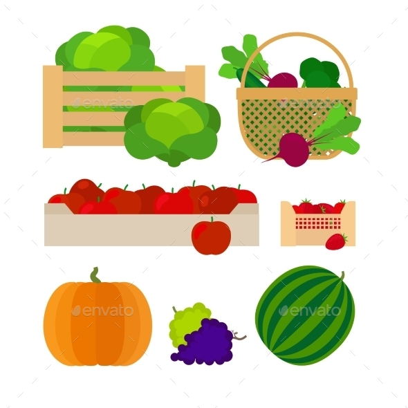 Vegetables and Fruits Farm Baskets - Food Objects