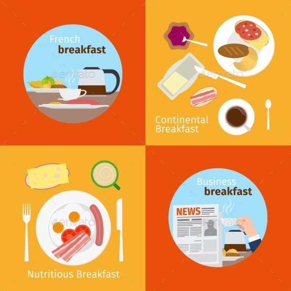 Continental and French Breakfast Concepts - Food Objects