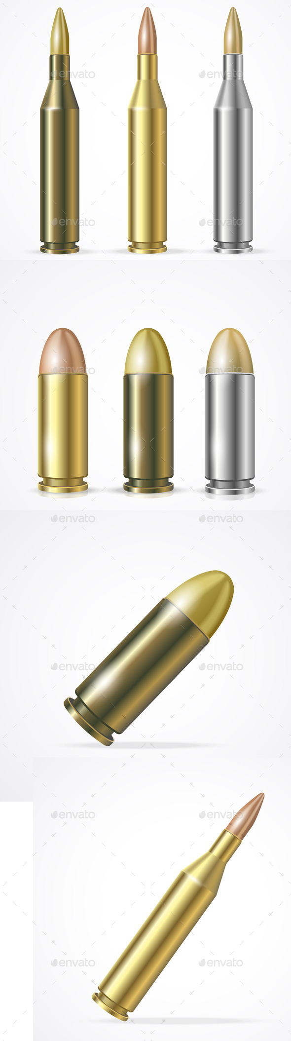 Rifle and Pistol Bullet Set - Man-made Objects Objects