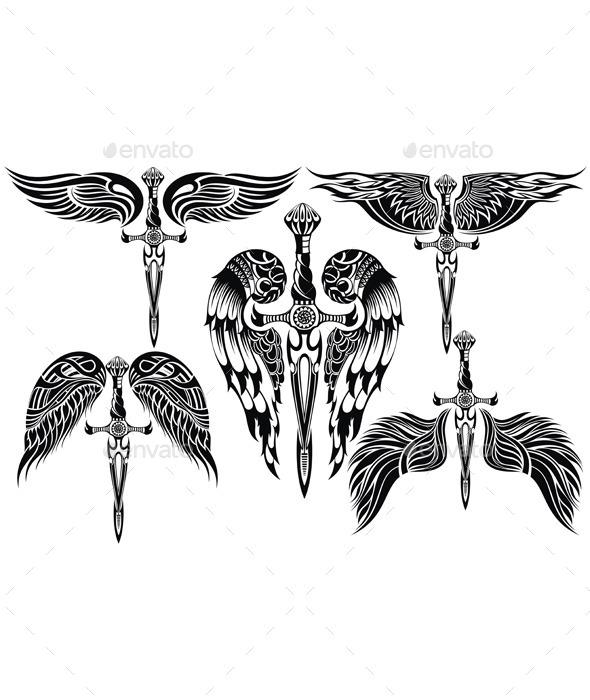 Wings and Sword Big Set - Tattoos Vectors