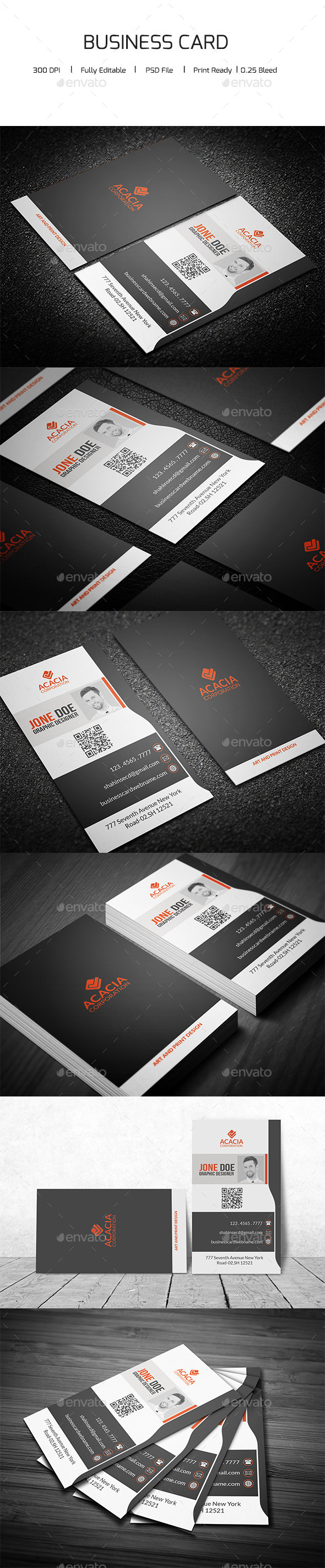 Creative Vertical Business Card - Corporate Business Cards