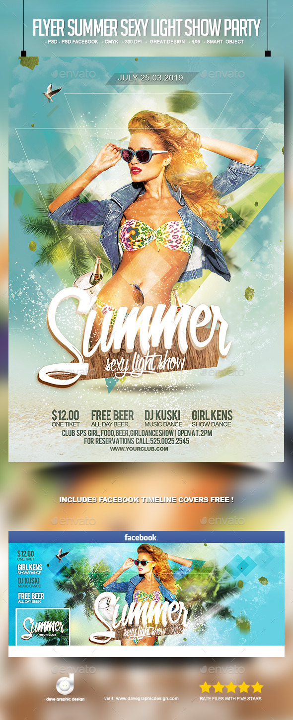 Flyer Summer Sexy Light Show Party - Clubs & Parties Events