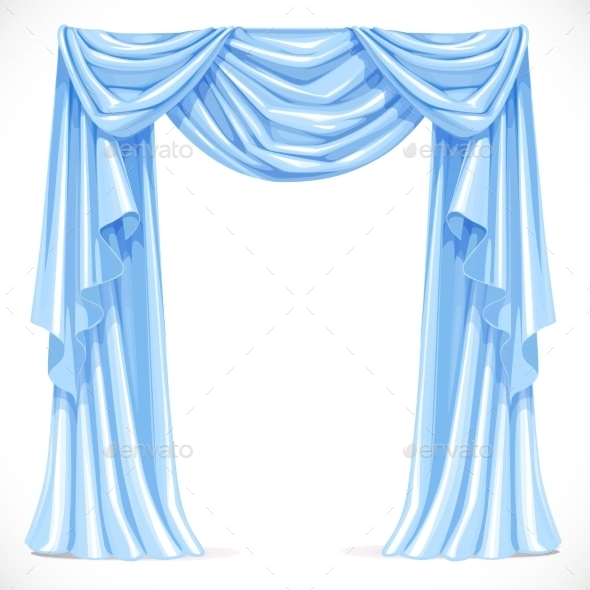 Blue Curtain Draped with Pelmet - Man-made Objects Objects