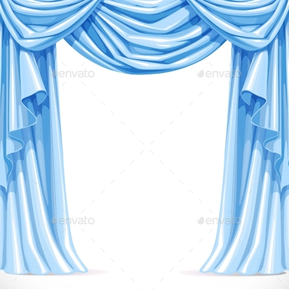 Big Blue Curtain Draped with Pelmet - Backgrounds Decorative
