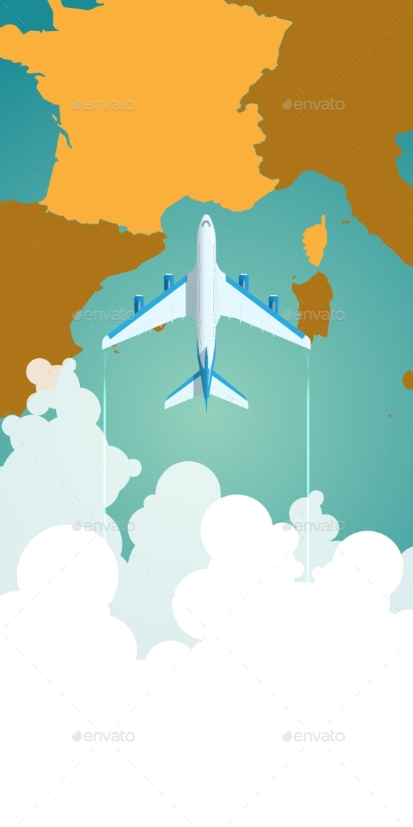 Airplane Flying Through Clouds Above a Map - Travel Conceptual