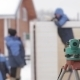 Builders Are Building a Wooden House In Blurred - VideoHive Item for Sale