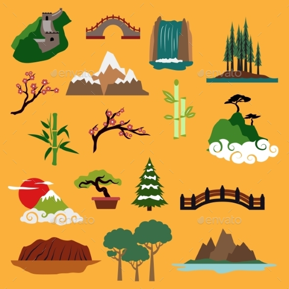 Nature Landscape Elements And Buildings - Decorative Symbols Decorative