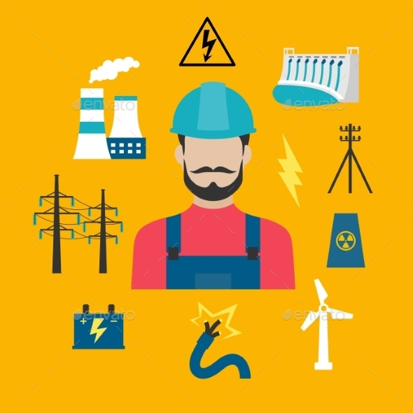 Electricity Industry Concept With Power Icons - Industries Business
