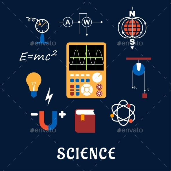 Science Physics Flat Icons Set - Objects Vectors