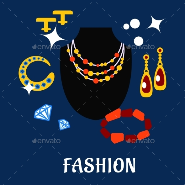 Fashion And Jewelry Flat Icons - Commercial / Shopping Conceptual