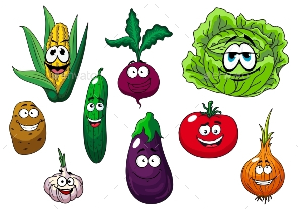 Fresh Tasty Cartoon Vegetables Characters - Food Objects