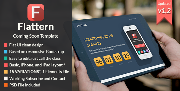 Flattern - Responsive Coming Soon Template - Under Construction Specialty Pages
