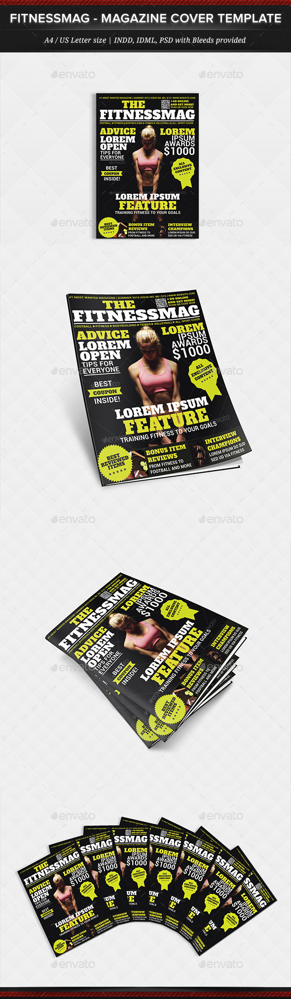 FitnessMag - Multipurpose Magazine Cover Template - Magazines Print Templates