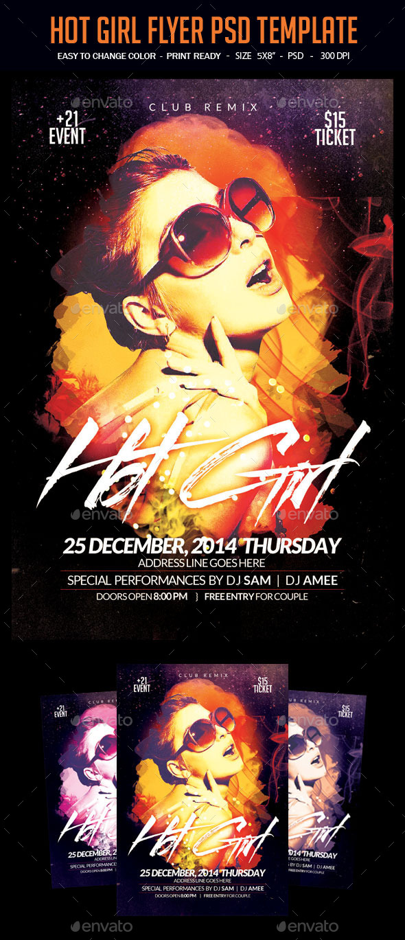 Hot Girl Flyer PSD Template - Clubs & Parties Events