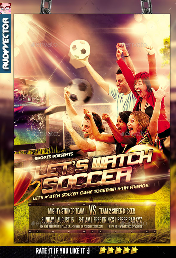 Let's Watch Soccer Game Night Flyer - Sports Events