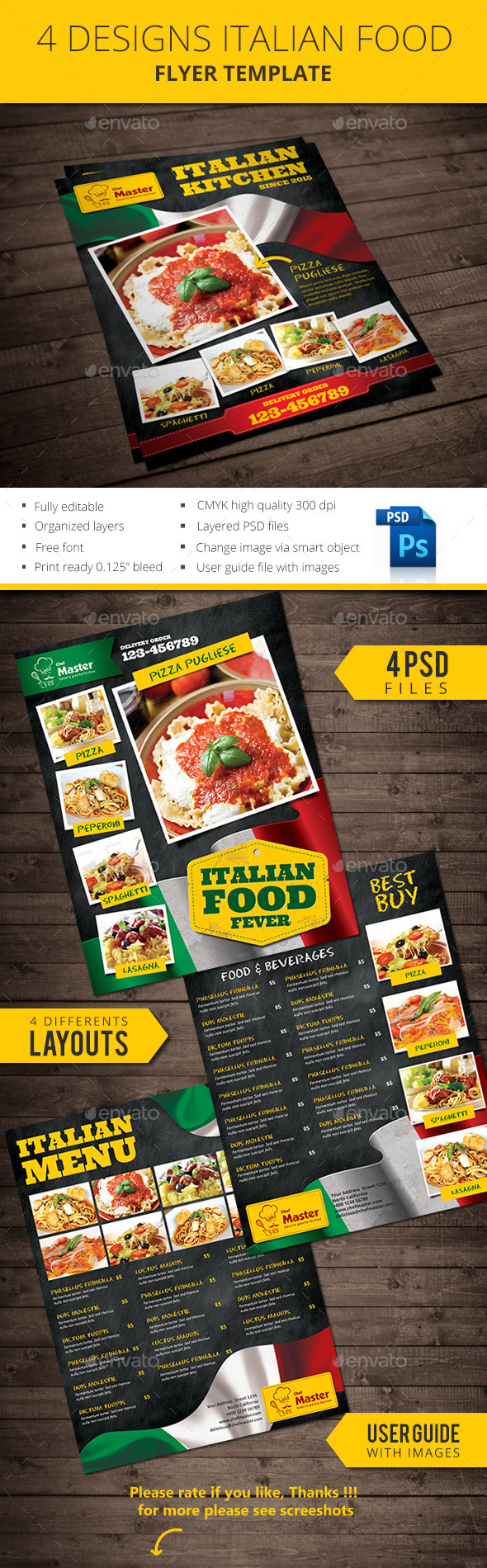 Italian Food Flyer - Restaurant Flyers