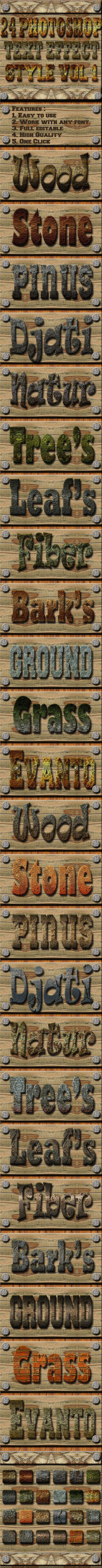 24 Photoshop Text Effect Style Vol 1 - Styles Photoshop