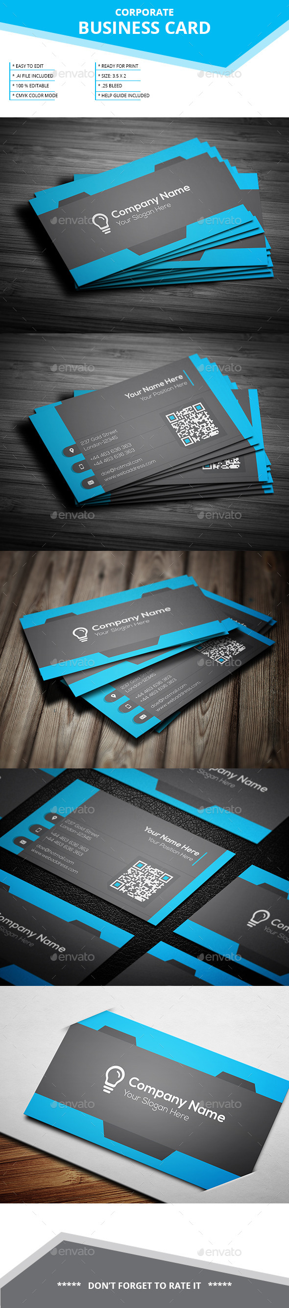 Corporate Business Card _ SL _ 15 - Business Cards Print Templates
