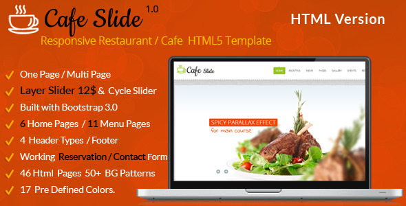 Cafe Slide - Responsive Restaurant HTML5 Template - Restaurants & Cafes Entertainment