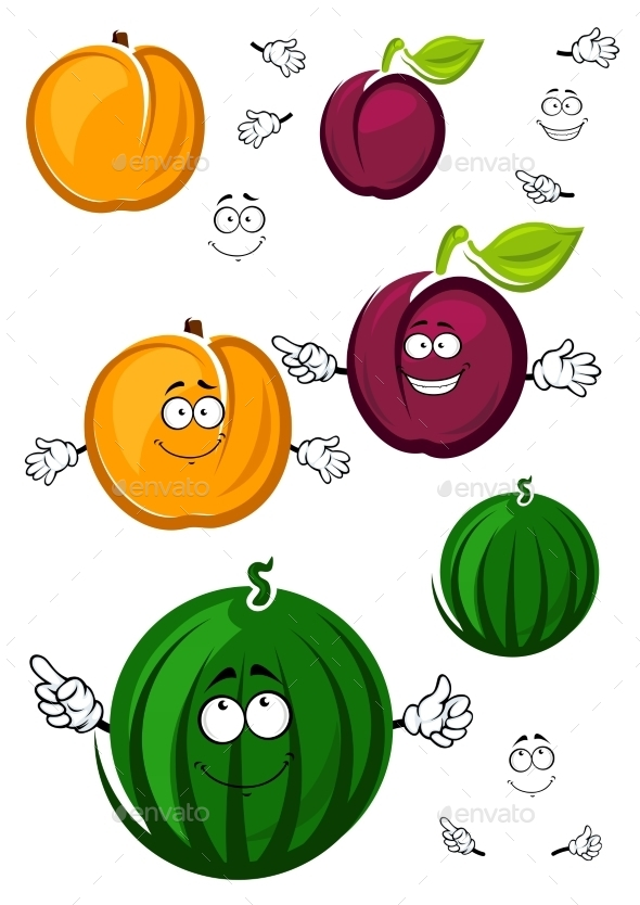 Sweet Cartoon Peach, Watermelon And Plum - Food Objects