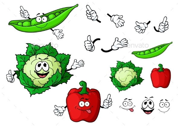 Cartoon Cauliflower, Pepper And Pea Pod Vegetables - Food Objects