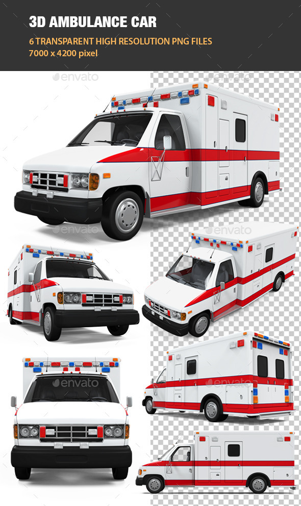 3D Ambulance Car - Objects 3D Renders
