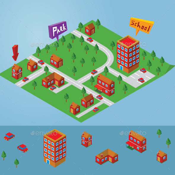 Isometric Small Map - Buildings Objects