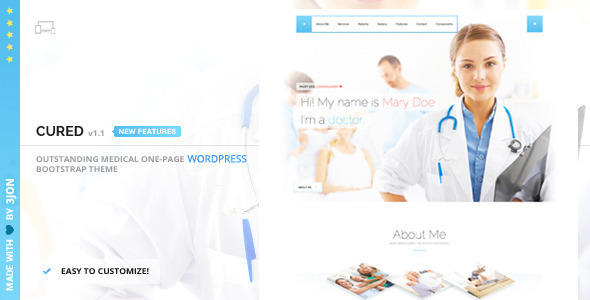 Cured - Responsive One Page WP Theme - Health & Beauty Retail