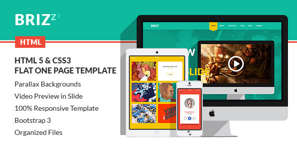 BRIZZZ - Flat One Page HTML Template - Creative Site Templates