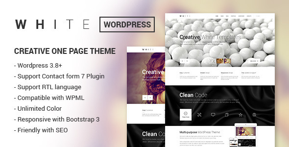 WHITE - Creative One Page Wordpress Theme - Creative WordPress