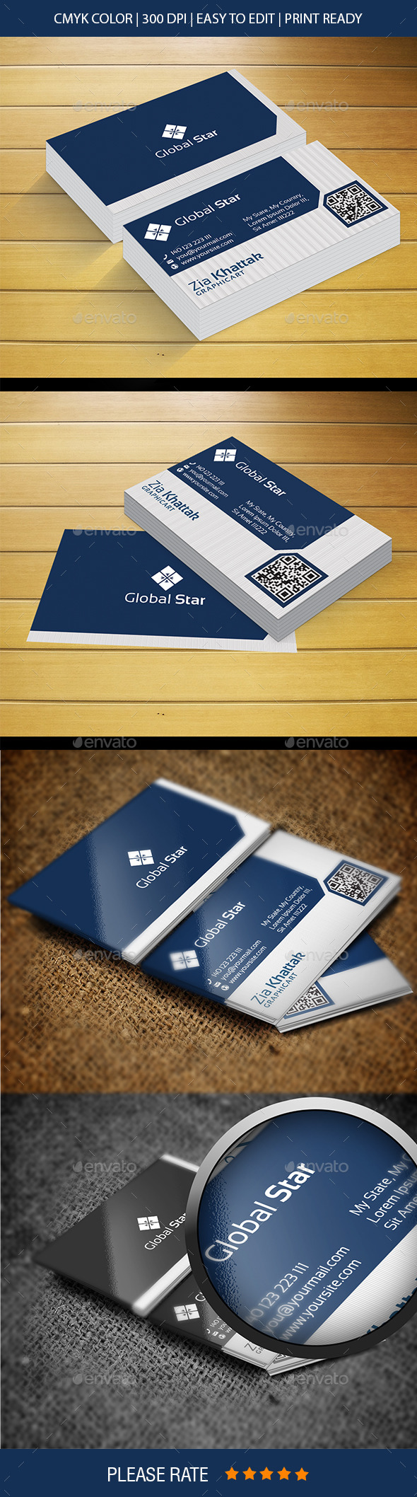 Global Star Vol-IV 2 Business Card - Corporate Business Cards