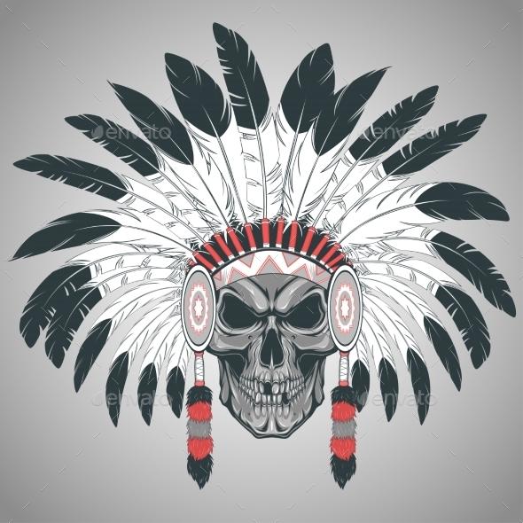 Indian Skull Chief - Tattoos Vectors