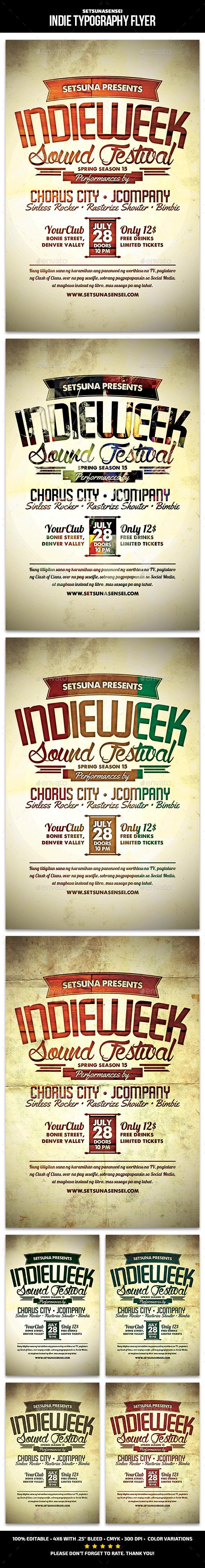 Indie Typography Flyer - Concerts Events